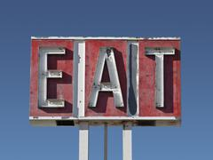 Eat sign ruin Stock Photos