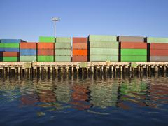 Container seafront Stock Photos