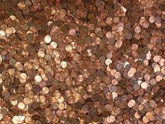 Many pennies Stock Photos