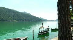 Lake Lugano in Morcote, Switzerland - stock footage