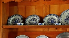 Dishes on Shelve Stock Footage