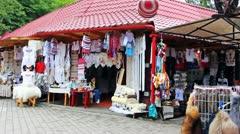 Teens On Souvenir Market Yaremche Stock Footage
