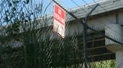 No Trespassing Sign Grunge abandoned - stock footage