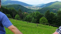 Couple Going Down To Mountains Stock Footage