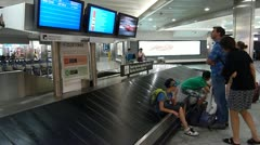 Passengers Waiting For Baggage Stock Footage