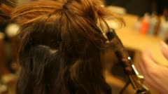 Woman Having Hair Done at Salon CU Curling Iron Stock Footage