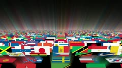 Flags of the World  Carpet Animation, Shine Stock Footage