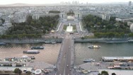 Palais de Chaillot and Seine River From Eiffel Tower Stock Footage
