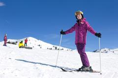 winter woman ski - stock photo