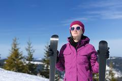 winter woman ski - stock photo