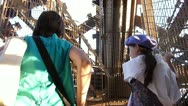 Tourists Walking Up Eiffel Tower Stairs Stock Footage