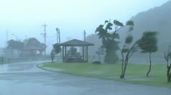 Furious Hurricane Eyewall Winds Lash Town Stock Footage