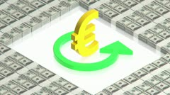 Gold euro sign on dollars Stock Footage