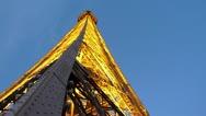 Brilliant Lights on Eiffel Tower At Dusk Stock Footage