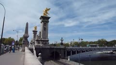 Pont Alexandre III Bridge in Paris Stock Footage