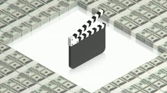 Clapperboard with dollars Stock Footage