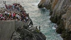 La Quebrada famous cliff diving site Stock Footage