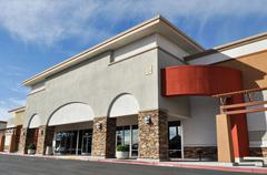 Shopping center strip mall Stock Photos