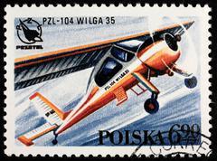 poland postage stamp - stock photo