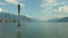 Fork sculpture in Vevey, Switzerland Stock Footage