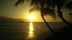 Palm Tree Coast Sunset, Maui Coast Facing Lanaii Island, Hawaii, Time Lapse Stock Footage