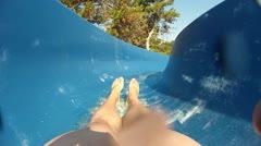 Fun on waterslide Stock Footage
