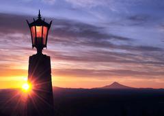 Sunburst and Mt Hood - stock photo