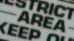 Restricted Area Sign Pullback with FX and Jitter Stock Footage