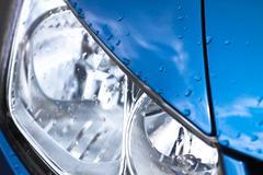 headlamp on luxury car - stock photo