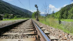 Rail track into valley Stock Footage