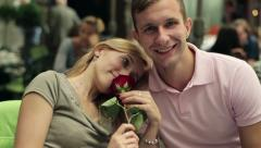 Happy couple in love in the cafe, steadicam shot HD Stock Footage