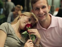 Happy couple in love in the cafe, steadicam shot NTSC Stock Footage