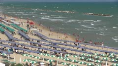 Italy - beach with parasol Stock Footage