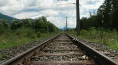 Rail track closeup Stock Footage