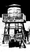 old water tank duotone - stock photo