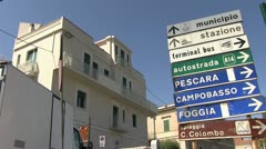Italy - Molise - Termoli - Street sign Stock Footage