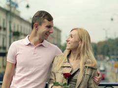 Young happy couple in love in the city, steadicam shot NTSC Stock Footage