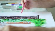 Stock Video Footage of Drawing with markers