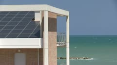 Italy - Beach house with solar panel Stock Footage