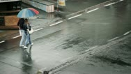 Stock Video Footage of Couple Walking on the Rain