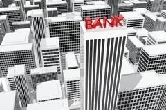 Skyscraper headquarters of a bank in the city Stock Illustration