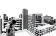 Stock Illustration of person alone in the roof among the buildings of the city
