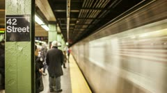Subway Train Pulls into Station (editorial) Stock Footage