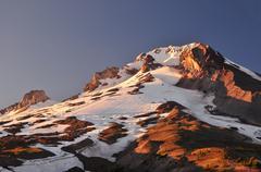 Mt Hood Summit at Sunset Stock Photos