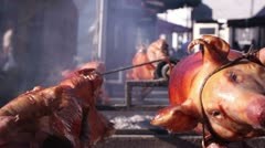 Barbecue fest (pigs on a spit) _4 Stock Footage