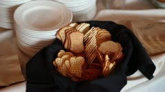Tilt Up Fancy hors d'oeuvres at Wedding Stock Footage
