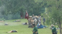 Union infantry line reforms to protect their flank - stock footage