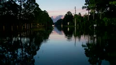 Flooded Road(Early Morning) Stock Footage