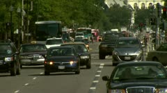 City traffic on hot day Stock Footage