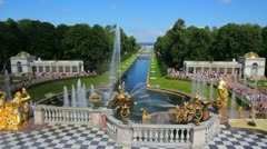 Famous petergof fountains in St. Petersburg Russia - timelapse Stock Footage